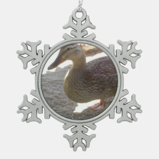 Duck Pewter Snowflake Decoration