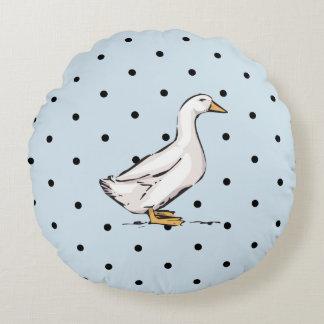 Duck Polka Dot Pattern Blue Round Throw Pillow