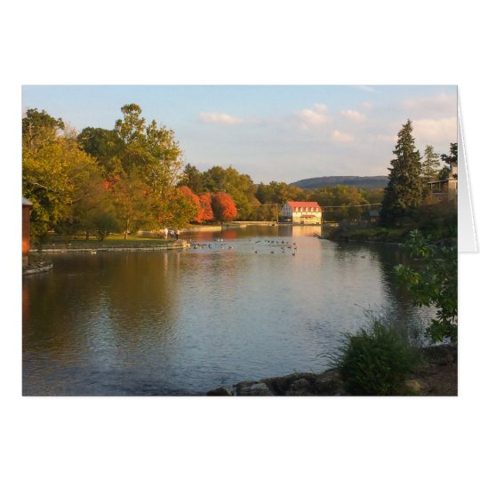 Duck pond with mill in fall card