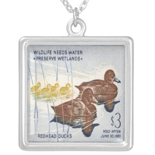 Duck Postage Stamp Necklace