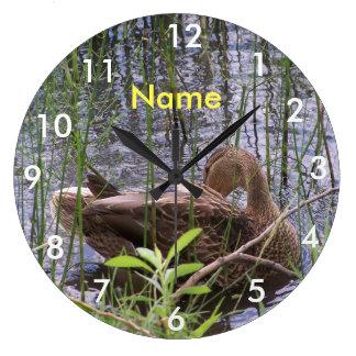 Duck Preening in the Reeds Clocks