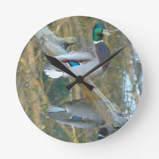 Duck Reflected Round Clock