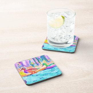 Duck Study Water Color Beverage Coaster
