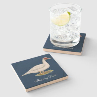 Duck White Muscovy Stone Beverage Coaster