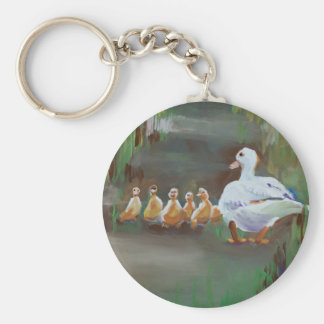 Duck with Ducklings Basic Round Button Key Ring
