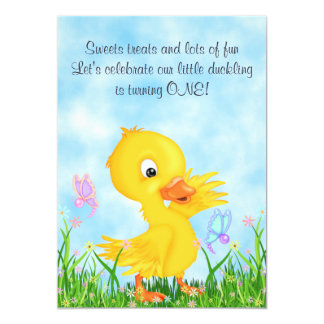 "Duckling and Butterflies 1st Birthday Invitation 5"" X 7"" Invitation Card"