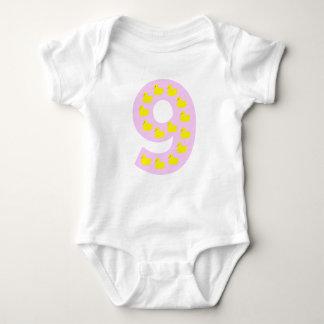 Duckling number 9 in pink baby bodysuit