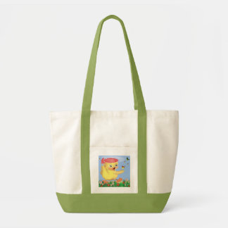 duckling playing with butterflies canvas bag