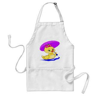 Duckling with a purple umbrella standard apron