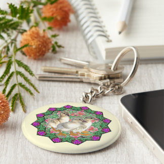 Ducklings and Flowers Basic Round Button Key Ring
