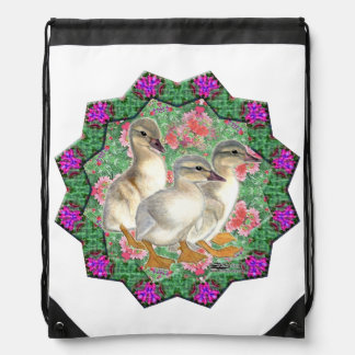Ducklings and Flowers Drawstring Bag