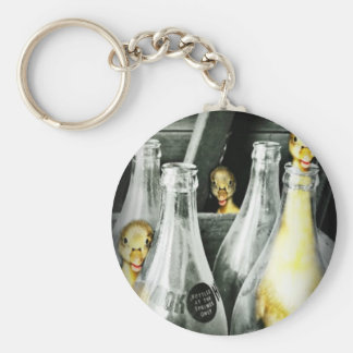 ducklings get into mischief basic round button key ring