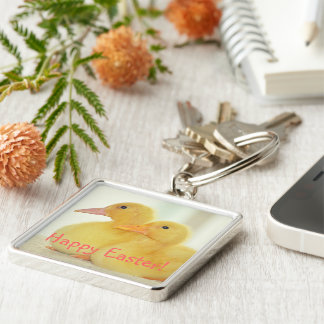 Ducklings Silver-Colored Square Key Ring