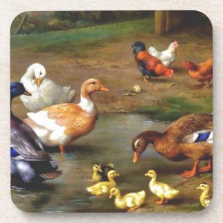Ducks and ducklings beverage coaster