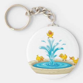 Ducks and fountain basic round button key ring
