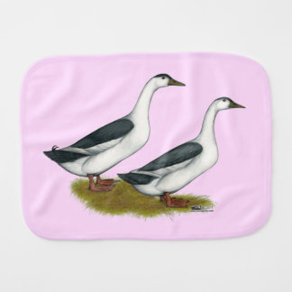 Ducks:  Blue Magpies Burp Cloth