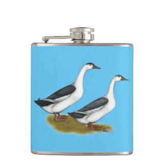 Ducks:  Blue Magpies Hip Flask