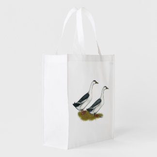 Ducks:  Blue Magpies Reusable Grocery Bag