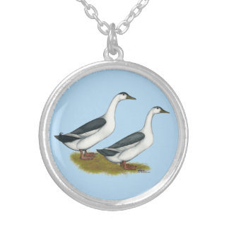 Ducks:  Blue Magpies Silver Plated Necklace