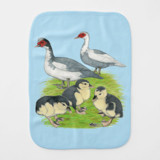 Ducks Blue Pied Muscovy Family Baby Burp Cloths