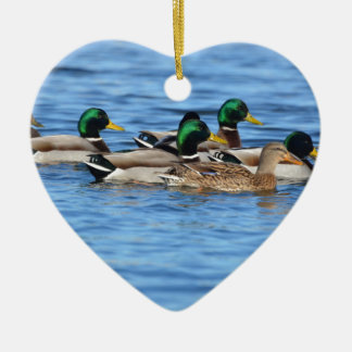 ducks ceramic heart decoration