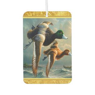 Ducks flying over the sea With a small boat below Car Air Freshener