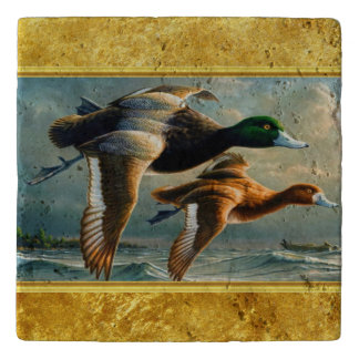 Ducks flying over the sea With a small boat below Trivet