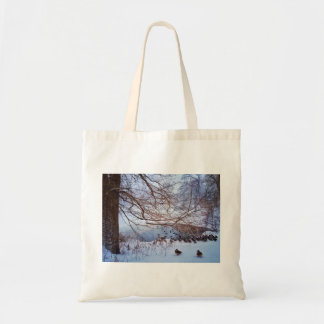 Ducks Gather Around A Frozen Pond Tote Bag