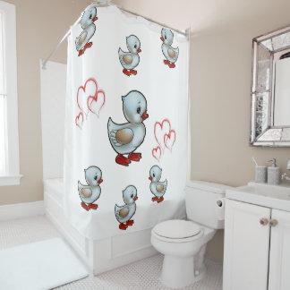 Ducks heart shower curtain