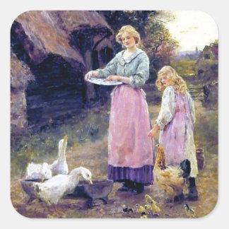 Ducks Hen Chicken Farm Birds Mother Daughter Square Sticker