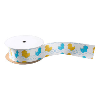 Ducks in a lake satin ribbon