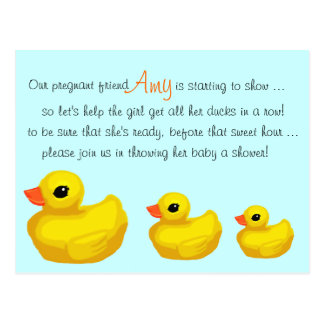 """Ducks in a Row"" Personalized Shower Invitation Postcard"
