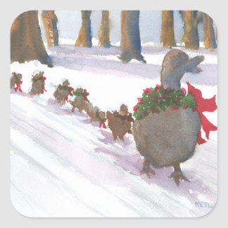 ducks in boston common during the winter holidays square sticker
