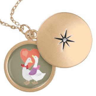 Ducks in Love Locket Necklace