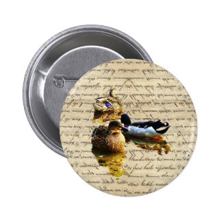 Ducks on vintage paper buttons