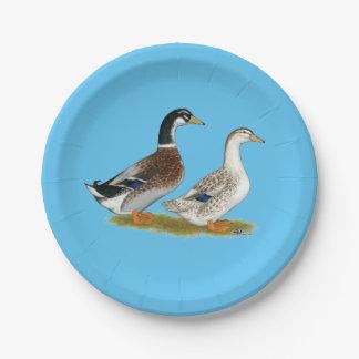 Ducks:  Silver Appleyard Paper Plate