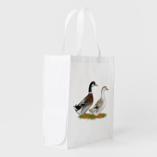 Ducks:  Silver Appleyard Reusable Grocery Bag