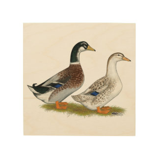 Ducks:  Silver Appleyard Wood Wall Art