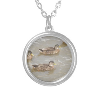 Ducks swimming silver plated necklace