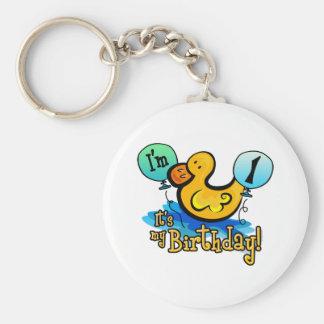 Ducky 1st Birthday Keychain