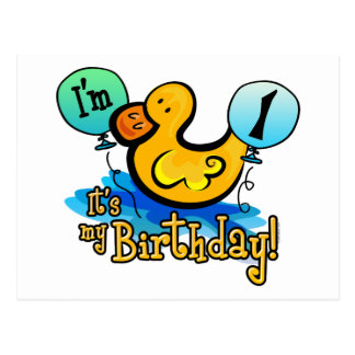 Ducky 1st Birthday Postcard