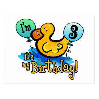 Ducky 3rd Birthday Post Card