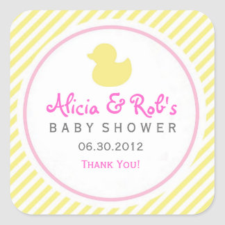 Ducky Baby Shower Yellow and Pink Sticker