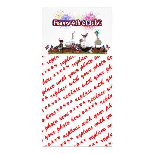 """Ducky Celebration """"Happy 4th of July"""" on Blank Customized Photo Card"""