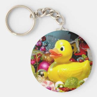 Ducky Christmas I Basic Round Button Key Ring