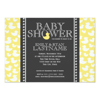 Ducky Pattern Baby Shower 13 Cm X 18 Cm Invitation Card