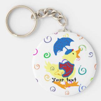 Ducky swirls rainy Keychain