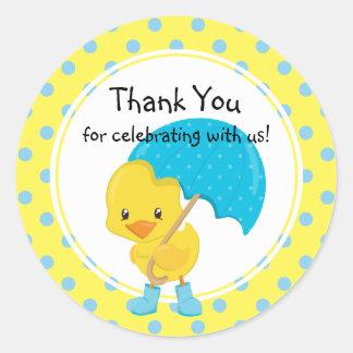 Ducky with Umbrella Baby Shower Thank You Round Sticker