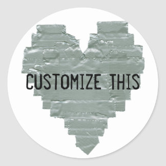 Duct Tape Heart Round Stickers