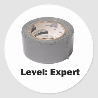 Duct Tape Level Expert Round Sticker
